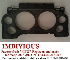 GMC 2007-2013 -- NEW Instrument Cluster replacement lens - ALL BLACK (no chrome)