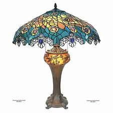 "Antiqued Art Nouveau Peacock Tiffany-Style Stained Glass 25"" Handmade Table Lamp"