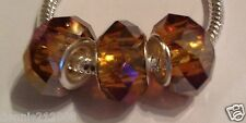 3 x Brown tan bronze hint of A/B Faceted Bead charm spacer European Bracelet M34