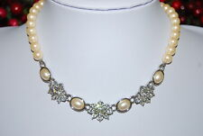 MONET STRAND NECKLACE FAUX WHITE PEARLS WITH CLEAR RHINESTONES & PEARL PENDANTS
