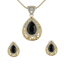 Cocktail Black Waterdrop Crystal Jewelry Set Gold Plated Necklace+Studs Earrings