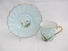 LIMOGES Chamart France Demitasse Cup & Saucer White Daisy's Hand Painted & Sign