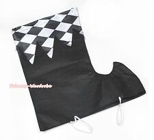 Halloween Party Black White Checked Plaid Clown Sock Shoes Cover Costume Unisex