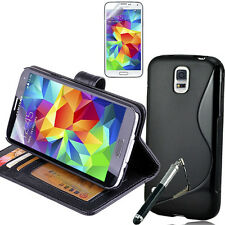BLACK Wallet & Gel 4in1 Accessory Bundle Kit Case Cover For Samsung Galaxy S5