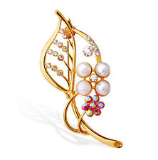 Amazing Leaf Design Pink Gold & White Pearls Rhinestones Brooch Pin BR318