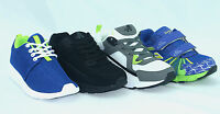 BOYS BLACK NAVY CASUAL VELCRO STRAP SHOES KIDS GIRLS SKATE TRAINERS SIZE
