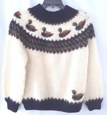 Orvis Heavy Knit Virgin Wool Sweater Pullover EUC Mens Sz M Mallard Ducks WARM