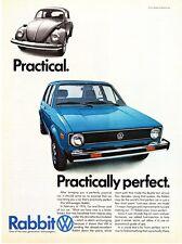 """1977 Volkswagen Rabbit & Older Beetle photo """"Practical & Perfect"""" print ad"""