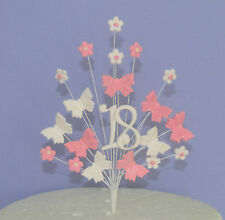 cake topper 18th 21st 30th 40th 50th pink butterflies on wires decoration