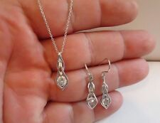 925 STERLING SILVER TEAR DROP NECKLACE PENDANT & EARRING SET W/ 2 CT DIAMOND