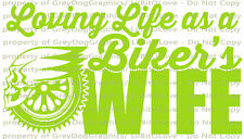 Loving Life as a Biker's Wife Vinyl Decal Sticker Motorcycle Skull Harley Hog