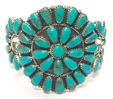 Navajo Handmade Turquoise Cluster Sterling Silver Cuff Bracelet - Jude Perry