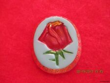 """Czech Glass Red,Green&Gold Tipped Rose on Blue Oval Button-1.369""""x1.177"""""""