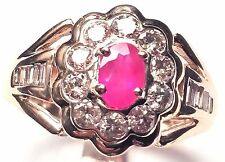 14 KT YELLOW GOLD RING WITH RUBY AND DIAMONDS  SCU78JJ