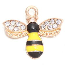 50pc Lots Gold Plated Rhinestones Yellow&Black Enamel Bee Charms Alloy Pendant C