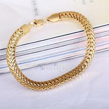 18K Yellow Gold Filled Men's Thick Bracelet Link Curb Chain Bracelet Jewelry