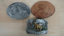 Deer Bow hunting and fishing Sportsmen Belt Buckles  Pewter and leather