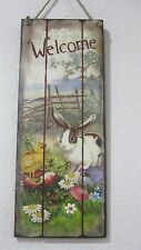 "Primitive Vintage Style Easter Wood Sign Decorations Rabbits ""Welcomer"" NEW"