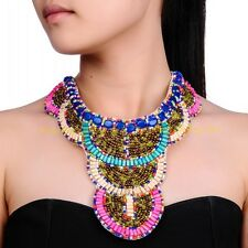 Fashion Handmade Multicolor Resin Wooden Beads Chunky Pendant Collar Necklace