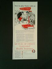 1956 Pedal Car Kids Vintage Toy Pedal Car Mutual of Omaha Insurance Print Art AD