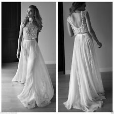 2017 Hot Bing Sheer Lace Backless Beach Wedding Dresses Bridal Gown Custom Size