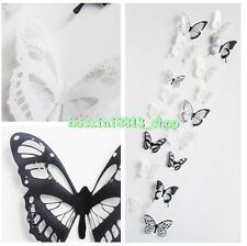 18X Festival 3D Black/White Butterfly Crystal Decor Wall Sticker Decor Wall Nice