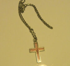 Vintage clear pink Cross & chain--19 inches-