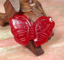 CHINESE Red JADE PENDANT Butterfly with jewelry cord 256344