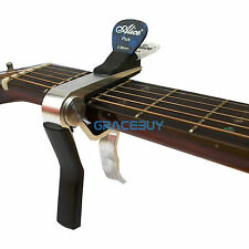 Silver Alloy Capo With Pick Holder Cappo For Acoustic Electric Classical Guitar