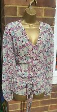 MONSOON 14 16 EU 44 NUDE BEIGE CHIFFON SHEER BELTED FLORAL BUTTON UP BLOUSE TOP