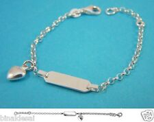 925 Steling Silver small Heart Charm ID Bracelet Baby Child Newborn X'Mas GIFT N