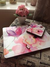 Set Of Four Shabby Chic Cork Back Floral Place Mats And Coasters Pink Purple