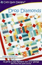 """DROP DIAMONDS Quilt Pattern by Cozy Quilt Designs ~ 5 Sizes Using 2.5"""" Strips"""