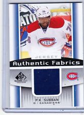 13-14 2013-14 SP GAME USED P.K. SUBBAN FABRICS JERSEY AF-PS MONTREAL CANADIENS