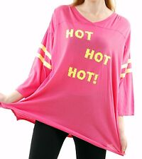 Wildfox Women's Hot Hot Hot Jersey Tunic Oversized Acid Pink Size S BCF510