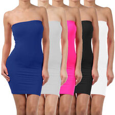 Elastic Tube Mini Dress Strapless Stretch Tight Body-con Seamless One Size L0