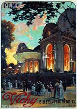 c1911 Vichy Billets a Prix Reduits Paris France French European Travel Poster