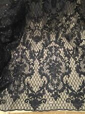 "DARK NAVY  METALLIC EMBROIDERY SEQUINS BEIDAL LACE FABRIC 50"" WiIDE 1 YARD"