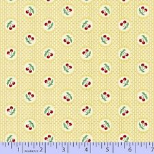 By 1/2 yd~AUNT GRACE~6263-333~red cherries in circle on yellow-30s~Marcus Fabric