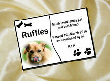 PERSONALISED PET DOG MEMORIAL PLAQUE PHOTO 20cm x 15cm bones design