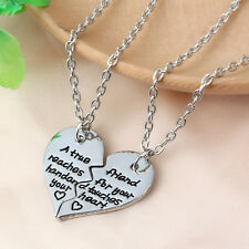 """A True Friend Reaches For Your Hand ..."" 2PCS Broken Heart Neclace Friendship"