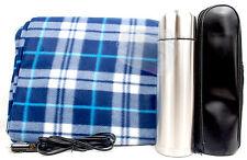 WINTER heated travel blanket fleece cover 12v car plug aux + hot flask elderly