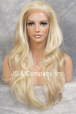 HEAT SAFE Lace Front WIG Strawberry Pale Blonde Mix Hair WBEM 613/27
