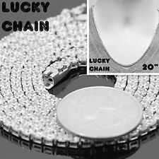 """925 STERLING SILVER ICED OUT TENNIS CHAIN NECKLACE 20""""x3mm 26g PC34"""