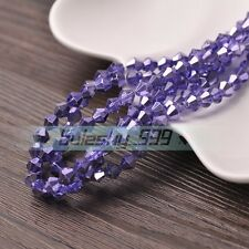 50pcs 6mm Bicone Faceted Glass Crystal Loose Spacer Beads Findings Bluish Purple