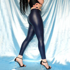 gummig weiche LEDER-LOOK LEGGINS blau* S 38 * warme Leggings* Kunstleder wetlook