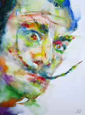 SALVADOR DALI watercolor PORTRAIT - ONE of a KIND! dalì surrealism surreal spain