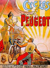 Cycles Peugeot Bicycle Paris France French Advertisement Vintage Art Poster