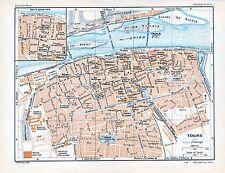 Tours 1923 pt. plan ville orig. + guide (16 p.) Vallée Loire Azay Luynes Amboise