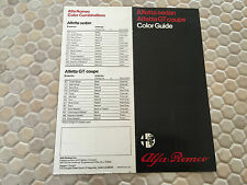 ALFA ROMEO ALFETTA SEDAN & ALFETTA GT COUPE PAINT & INTERIOR COLOR CHARTS 1975